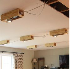 Faux beamed-ceiling with downlights