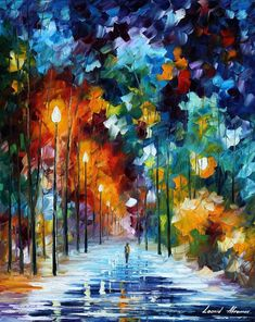 Leonid Afremov -  ROMANTIC WINTER — PALETTE KNIFE Oil Painting On Canvas By Leonid Afremov #OilPaintingKnife