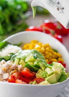 Chicken Spinach Salad with Avocado Cilantro Dressing | Jo Cooks