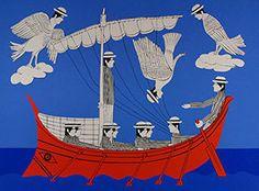 Yiannis Gaitis, Greek artist ( 1923 - Sirens- Odysseus- National gallery Museum of Athens Modern Art, Contemporary Art, Greece Painting, Street Art, National Gallery, Great Works Of Art, Sirens, Urban Art, New Art