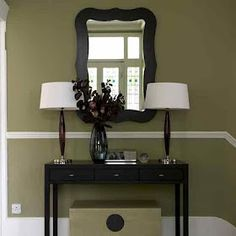olive green walls for the living room? Foyer Table Decor, Stair Decor, Entryway Decor, Hallway Furniture, Entryway Ideas, Hallway Ideas, Table Lamps, Console Table, Console Storage