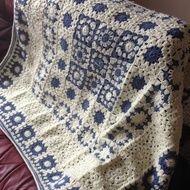 Cream and blue crochet pinwheel grany square blanket