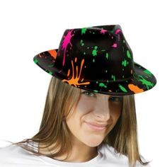 Totally 80s Paint Splatter Fedora - Party City