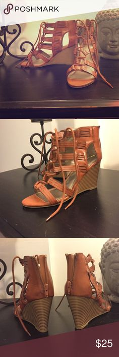 Lace up wedge heels NEVER WORN!! Super cute gladiator style, lace up, wedge heel. No trades Rampage Shoes Heels