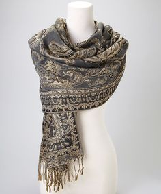 Take a look at this Gray & Gold Paisley Pashmina-Silk Blend Scarf by Rapti on #zulily today!