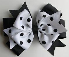 White and Black Polka Dot Hair Bow - Girl Bow - Baby Hair Bow - Large Size. $6.00, via Etsy.