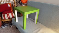 Green painted Ikea table. Skipped the legs for accent fun.