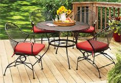 Better Homes and Gardens Clayton Court 5-piece Patio Dining Set, Wrought Iron Table and 4 Chairs, Red Cushions, Seats 4 Clayton Court - http://www.amazon.com/gp/product/B00HWY4MIS/ref=as_li_qf_sp_asin_il_tl?ie=UTF8&camp=1789&creative=9325&creativeASIN=B00HWY4MIS&linkCode=as2&tag=lunabellaswor-20&linkId=YCQDAHGJP5U6NPZQ