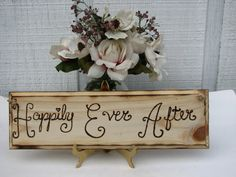 Happily ever after sign Wedding Decor Rustic Handmade Woodburned Rustic Woodland Sign Shabby Chic Vintage Country Western Weddings