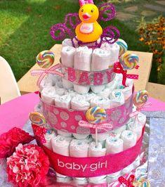 ideen babyparty windeln torte mädchen deko lollipops