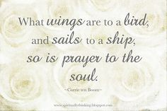 """""""What wings are to a bird, and sails to a ship, so is prayer to the soul.""""  ~Corrie ten Boom"""