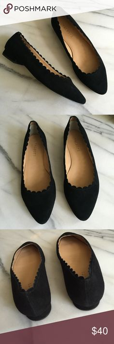 Talbots Black Suede Scalloped Flats Size 8.5 Wide Talbots Black Suede Scalloped Flats. Size 8.5 Wide. Genuine leather upper. Excellent condition. Talbots Shoes Flats & Loafers