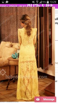 Back View of Power Shoulder Yellow Lace Bead Dress..