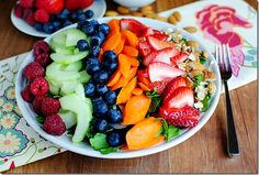 Inner Goddess Salad   | iowagirleats.com lots of fruit on a bed of greens, of course it's going to be delicious :)