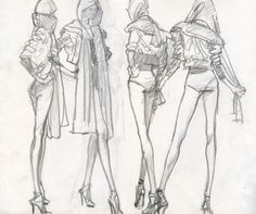 Two minute gesture fashion sketches.  By L O'Neal