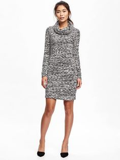 Cowl Neck Sweater Knit Cocoon Dress for Women