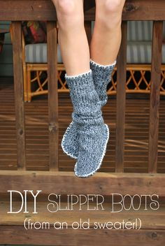 Upcycled Sweater Slipper Boots - Perfect for winter! You don't need a sewing machine, just a needle and some thread. A great DIY gift idea for the holidays.