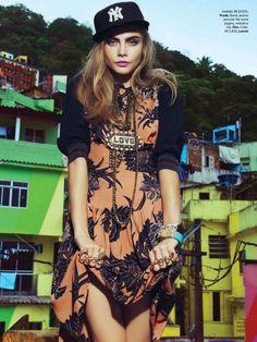 Flirty Feminine Streetwear - Cara Delevingne Stars in this Vogue Brasil February 2014 Editorial (GALLERY)