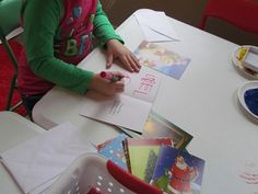 Christmas cards in the writing center in preschool