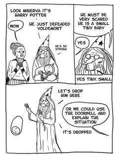 Harry Potter cartoons - Most Harry Potter fans are surely familiar with Albus Dumbledore as the benevolent and ever-wise professor, but these hilarious Harry Potter cartoo. Harry Potter Comics, Humour Harry Potter, Mundo Harry Potter, Harry Potter Anime, Harry Potter Fandom, Harry Potter Universal, Albus Dumbledore, Dumbledore Comics, Severus Snape