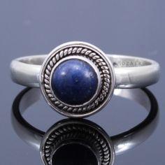 Sterling Ezüst Kaboson Gyűrű Lápisz Lazulival Sterling Silver Cabochon Ring /w Lapis Lazuli 3590 HUF