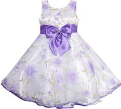 Sunny Fashion 3 Layers Girls Dress Diamond Bow Tie Purple Girl Kids Size 2-10 #SunnyFashion #Party