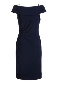 Gina Bacconi Jersey Dress With Diamanté Straps in Spring Navy