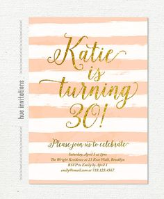 stripes gold glitter 30th birthday party invitation, pink coral modern womens birthday invitation, watercolor brushstrokes invite, s28