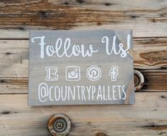 Wooden sign Social media craft show display by CountryPallets
