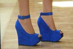 Gorgeous Womens Peep-toe Platform Blue Wedge Shoes for Sale
