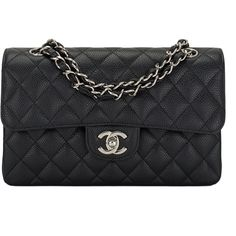 Pre-Owned Chanel Black Quilted Caviar Small Classic Double Flap Bag ($4,800) ❤ liked on Polyvore featuring bags, handbags, chanel, chanel bags, black, purses, quilted leather handbags, hand bags, genuine leather handbags and shoulder strap purses