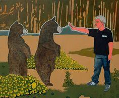 """Jan Dziaczkowski, """"Marcin jako Thimothy Threadwell, Grizzly Man"""", 2007, olej, płótno, 120 x 150 cm"""