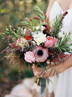 We love this woodsy pink and white wedding bouquet with loads of texture!Romantic Botanical Wedding Inspiration via @junebugweddings