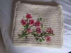 crochet and ribbon embroidery bag for a tablet