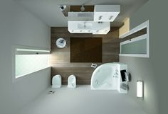 kleines bad gestalten holzboden moderne badmöbel I knew there was such a thing as a corner sink Small Bathroom Plans, Small Bathroom Shelves, Small Bathroom Furniture, Space Saving Bathroom, Small Bathroom Interior, Tiny Bathrooms, Cheap Bathrooms, Amazing Bathrooms, Modern Bathroom