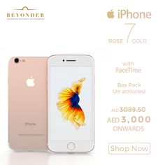 Yep, we got it at just AED 3000 + FREE SHIPPING  So just grab this deal and get your hands on 100% original Apple iPhone 7 at http://beyonder.co/electronics/apple-iphone-7-rose-gold-128gb-with-facetime
