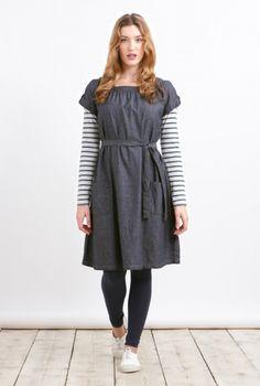 Bramley Dress | Denim cotton dress with tie waist and pockets