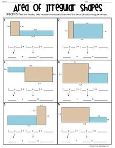 Printables Area Of Irregular Shapes Worksheet area and perimeter geometry math on pinterest this worksheet goes along with the power point presentation entitled of irregular shapes that introduces common core concept it gives