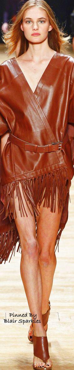 Spring 2016 Ready-to-Wear Barbara Bui Brown Fashion, Leather Fashion, Skin To Skin, Fashion Week 2016, Catwalk Fashion, Glamour, Leather And Lace, Leather Fringe, Fringe Trim