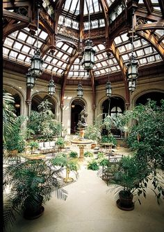 "Biltmore's Winter Garden, where a glass roof illuminates the center fountain sculpture ""Boy Stealing Geese"" by Karl Bitter.  http://writerlysam.com/2014/04/16/architects-of-illusion-echoes-of-olympus-1-muse-of-music/"