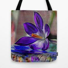 Blue flower. Tote Bag by Mary Berg - $22.00 #totebag #society6 #flower #purple #women