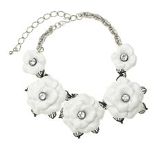 white graduating  flower necklace