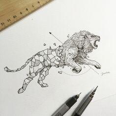 Animals meet geometry in striking illustration series: Geolion