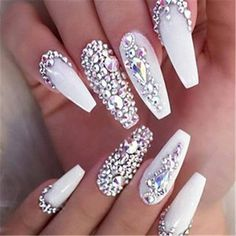 white nails with rhinestones ~ white nails ; white nails with designs ; white nails with glitter ; white nails with rhinestones ; White Nail Designs, Beautiful Nail Designs, Acrylic Nail Designs, Nail Art Designs, White Nails With Design, Swarovski Nails, Rhinestone Nails, Bling Nails, Rhinestone Nail Designs
