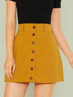 Wide Waistband Button Up Skirt -SheIn(Sheinside)