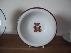 deep bowl handpainted bear on Limoges porcelain teddy bear collection, designer Patricia Deroubaix, hand painted in Limoges porcelain. cereal bowl/ all shapes on special orders Fragile, Cereal Bowls, Pie Dish, Creations, Porcelain, Teddy Bear, Hand Painted, Deep, Shapes