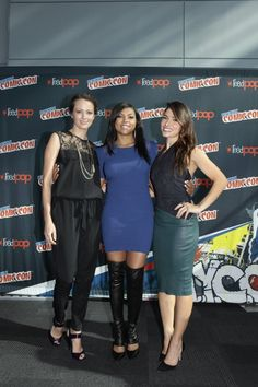 From left to right, Person of Interest stars Amy Acker, Taraji P. Henson and Sarah Shahi backstage at New York Comic Con