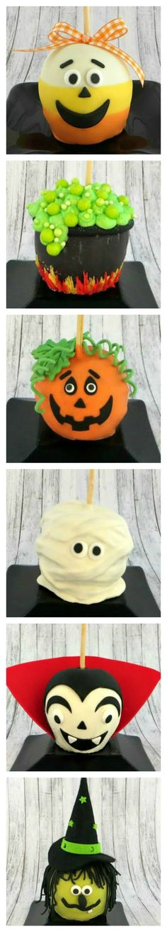 How To Make Halloween Caramel Apples Candy Corn Cauldron Jack O. Halloween Candy Apples, Halloween Baking, Halloween Desserts, Halloween Cupcakes, Holiday Desserts, Halloween Treats, Holidays Halloween, Halloween Fun, Sweets