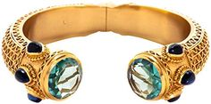 Julie Vos Baroque Cuff - Gold/Aqua Blue/DarkBlue ** Read more reviews of the product by visiting the link on the image.