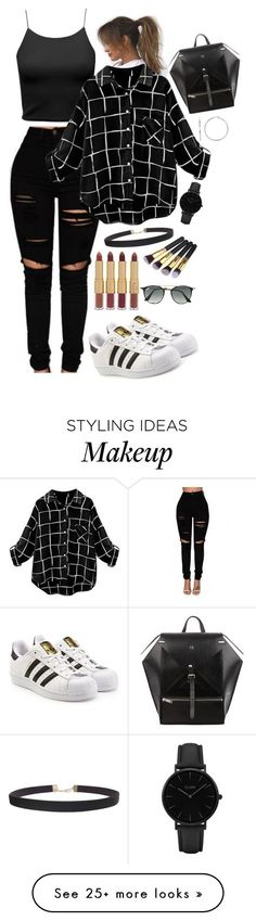 """Nvr too much blacc"" by zoe2 on Polyvore featuring Champion, adidas Originals, CLUSE, Humble Chic, tarte and Ray-Ban"